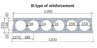 Hollow core slab 220 mm