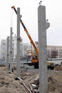 Монтаж колон виробництва «Обербетон»