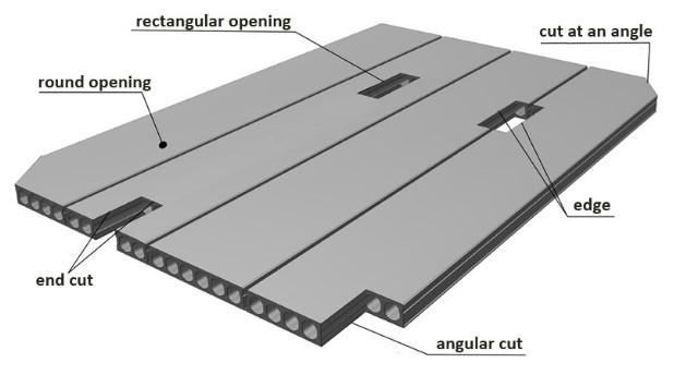 Production of hollow core slabs with technological holes