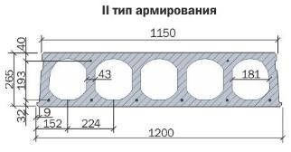 Пустотная плита ПК 265 мм чертеж