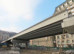 Reconstruction of an interchange on the Poshtova Square in Kiev using prestressed bridge beams