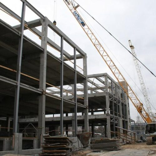 Монтаж сборного ж/б каркаса производства «Обербетон». Строительство цеха бортового питания в МА «Борисполь»
