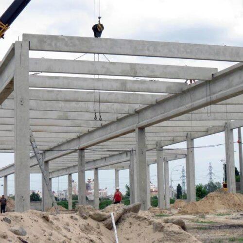 Монтаж железобетонного каркаса. Строительство ТЦ «Полярный», г. Киев